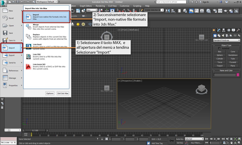 3d studio max importare un file dwg piu di un arte for Programma 3d semplice